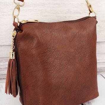 BROWN FAUX LEATHER DOUBLE TASSEL ZIP CROSSBODY BAG