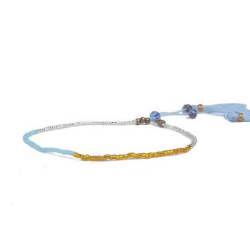 Pretty Dainty Blue White Gold Tone Friendship Bohemian Boho Tassel Seed Beaded Bracelets with Pull Cord
