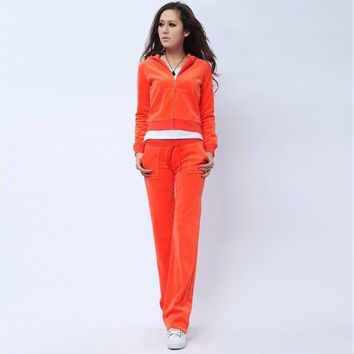 Juicy Couture Pure Color Velour Tracksuit 6047 2pcs Women Suits Orange