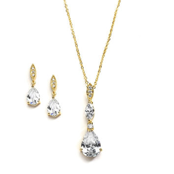 Gold Necklace Set with Pave Top & Cubic Zirconia Pears