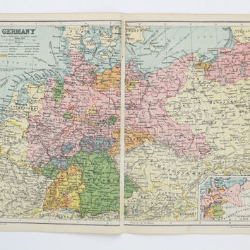 Vintage Germany Map, 1928 Map of Germany, old map, historical map, inter-war map