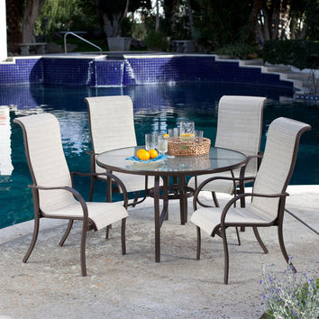 5-Piece Patio Furniture Dining Set with Round Table and 4 Padded Sling Chairs in Beach