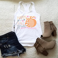 Happy Fall Ya'll tank top, women girls ladies graphic tees funny graphic shirt, tank tops women, tank tops with sayings