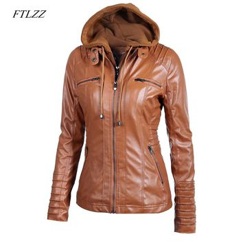 Ftlzz New Women Faux Leather Jacket Pu Motorcycle Hooded Hat Detachable Casual Leather Plus Size 5xl Punk Outerwear