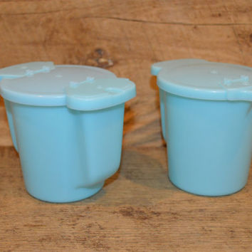 Blue Tupperware Cream and Sugar Set, Plastic Cream and Sugar, Creamer, Sugar Bowl, Vintage Tupperware, Blue Tupperware, Coffee, Tea, Retro