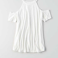 AEO Hi-Neck Cold Shoulder T-Shirt , Natural White