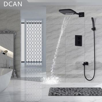 DCAN Brass Black Bathroom Rain Waterfall Shower Panel Set Thermostatic Massage System Tub Faucet with Jets & Hand Shower System
