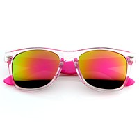 Retro Horned Rim Colorful Mirror Lens Sunglasses 8609