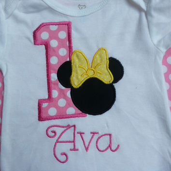Minnie Mouse Number Birthday Shirt or Onesuit :  Pink, Yellow and White with Monogram