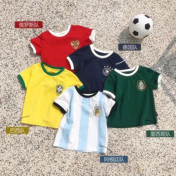 Baby Soft Skin-friendly World Cup Football Clothing Children 0-1 Years Old Boys Short Sleeves T-Shirts