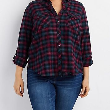 Plus Size Plaid Flannel Button-Up Shirt