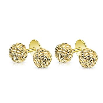 Knot Braided Twist Cufflink Studs Set 14K Gold Plated Sterling Silver