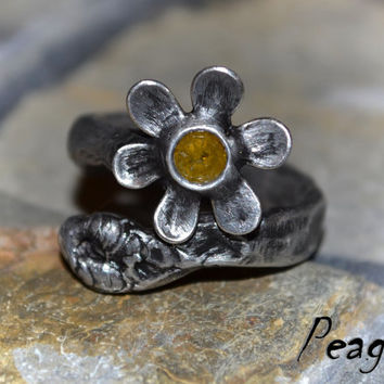 Diamond brilliant ring,Luxury ring,Flower ring,Natural Yellow diamond,Statement ring,Ooak ring,Valentine's Day,metalwork ring,peager