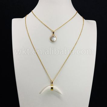 WT-N667 Long freshwater pearl charm necklace 1.2inch Arrowhead gold color pendant necklace natural stone statement necklace