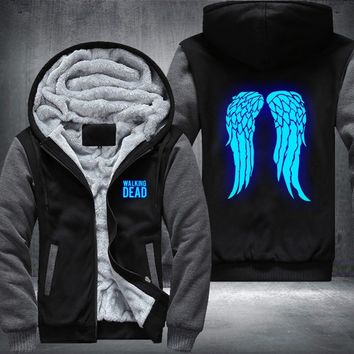 New The Walking Dead Luminous blue Hoodie Zombie Daryl Dixon Wings Winter Fleece Mens Sweatshirts USA Size