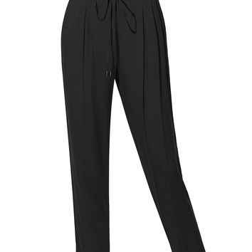 LE3NO Womens Stretchy Relaxed Slim Straight Leg Long Pants wtih Adjustable Drawstring