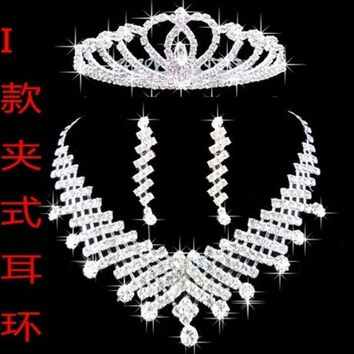 ONETOW Fashion accessory Bride jewelry three piece set post wedding necklace pearl crown set Korean jewelry wedding accessories (Color: Silver)