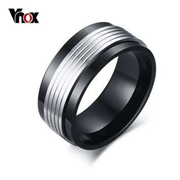 Vnox Black Spinner Rings for Men Jewelry Punk Men Wedding Rings Jewelry
