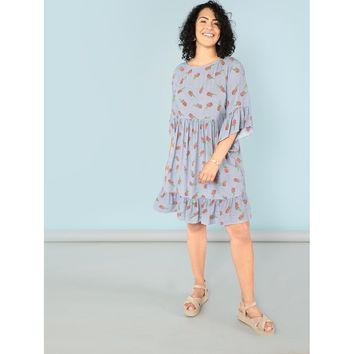 Plus Allover Pineapple Ruffle Trim Dress