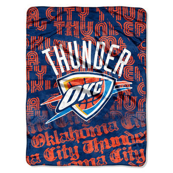 Oklahoma City Thunder NBA Micro Raschel Blanket (Redux Series) (46in x 60in)