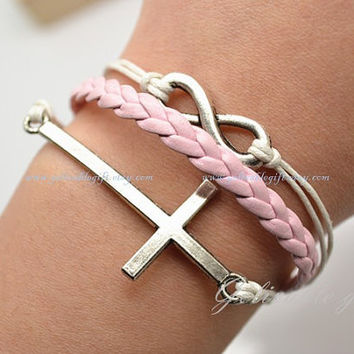 Silver Cross and Infinity wish Bracelet ,Pink Wax Cord Pink Braided Leather Bracelet Cute Charm Jewelry BCI01