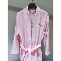 Dior Embroidery Logo Pink Bathrobe