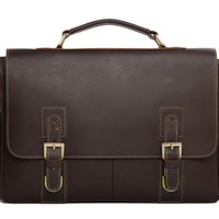 Manhattan Leather Briefcase in Dark Coffee