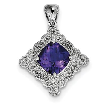 Sterling Silver 9mm Cushion Amethyst and Diamond Pendant