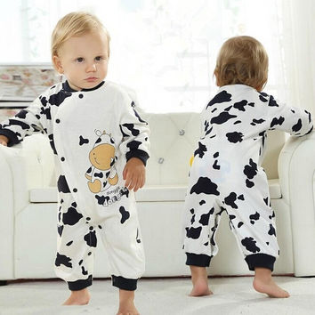 Fashion Baby's Onesuit Cotton jumpsuit Cartoon Cow climbing clothes Baby Coverall Package fart clothing Romper Crawling clothes infant Toddler Clothing leotard baby long-sleeved Romper sleepwear Pajamas for Newborn 0-1 years Baby boys girls = 1929867972