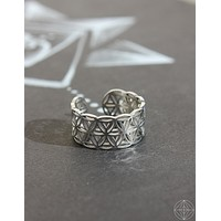"""Sacred Geo Ring - Flower of Life """"Silver"""""""