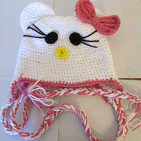 Unique Hello Kitty Beanie Hat.Free shipping world wide  Any size. Make a custom order. Price reduced was 15.00 now 14.00