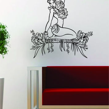 Hawaiian Pin Up Girl Design Decal Sticker Wall Vinyl Art Decor Home