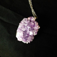 Raw amethyst cluster crystal necklace pendant