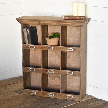 Industrial Wooden Cubby Cabinet