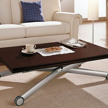 HEIGHT-ADJUSTABLE WOODEN COFFEE TABLE WITH CASTERS ESPRIT | DOMITALIA