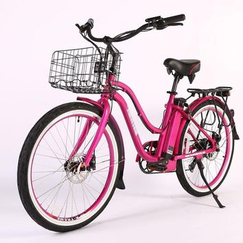 X-Treme Malibu Elite Max 36 Volt Electric Beach Cruiser Bicycle Bike Pink