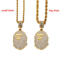 VIP AGOOD New Crystal Ape head Pendants Necklace For Men Punk Women Gold Plated Necklace Hip Hop Statement 5mm/3mm Twist Rope Chain