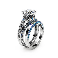 Special Reserved - Blue Diamonds Moissanite Engagement Ring Set 14K White Gold Engagement Rings