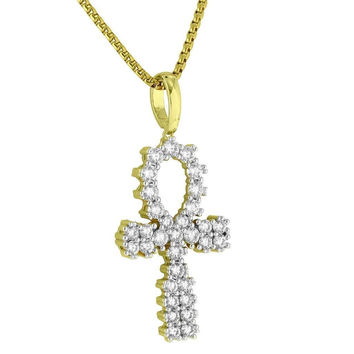 Solitaire Ankh Cross Pendant Iced Out 14K Gold Finish Simulated Diamond Necklace