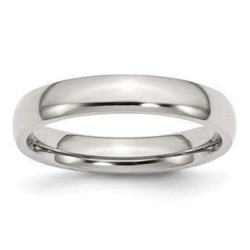 Domed Comfort Fit Ring in Stainless Steel - 4 Mm