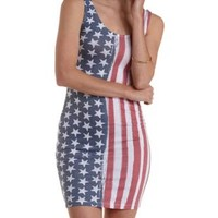 Navy Combo American Flag Print Bodycon Dress by Charlotte Russe
