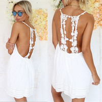 Womens Halter Floral Boho Spring Dress, White Hippy, Short