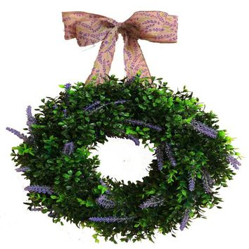 Boxwood and Lavender Farmhouse Wreath | Greenery Front Door Wreath | Everyday Door Decor | Boxwood Wreath with Bow | Farmhouse Wall Decor