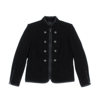 INC Womens Knit Faux Leather Trim Military Jacket