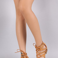 Qupid Strappy Lace Up Gladiator Sandal