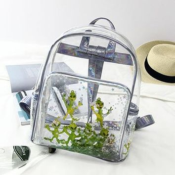 Clear Backpacks popular Alien Clear Women Backpack Ultra-Perspective Laser Girls School Bags Harajuku Itabag Lovely Stars Transparent Bags Teenager New AT_62_4