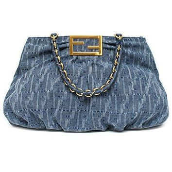 Fendi Canvas Denim Blue Fonap Soft Tote Bag 8 Br 616 Large Satchel New