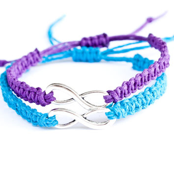 Infinity Friendship Bracelets Purple and Turquoise