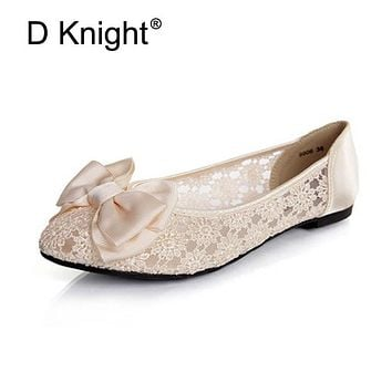 Women Ballerinas Fashion Bow Pointed Toe Slip-on Women Flats Ladies Casual Breathable Lace Ballet Flats Women Flat Wedding Shoes