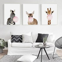Wall Art Animal Poster Print Nordic Woodland Picture Kids Baby Girls Room Home Decor DH2178
